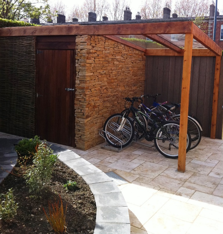 Shed and bicycle parking